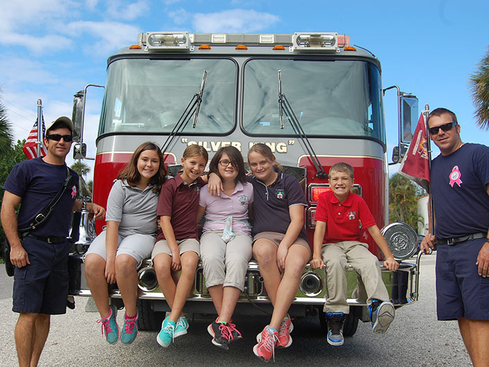 Students With Firefighters